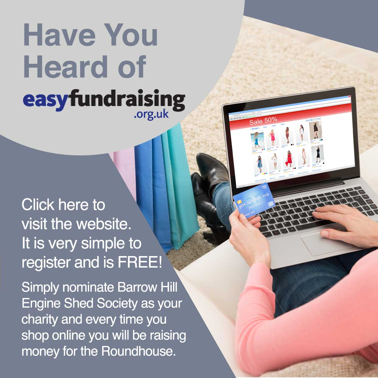 Click here to sign up to Easy Fundraising - it is FREE