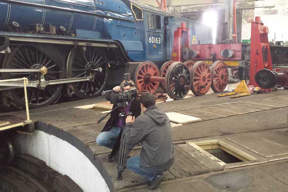 Film set at Barrow Hill Roundhouse