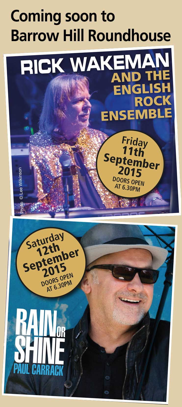 Rick Wakeman and Paul Carrack live in concert at The Barrow Hill Roundhouse September 2016
