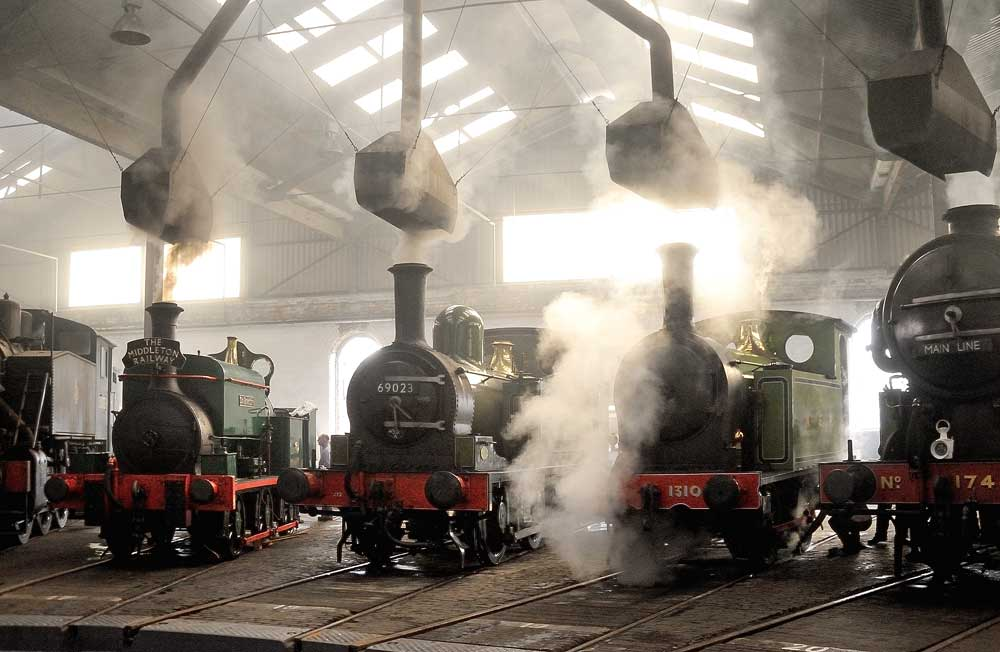 Steam locomotives on display at Barrow Hill Roundhouse museum and operational Engine Shed